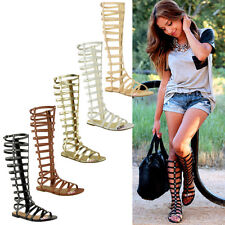 LADIES WOMENS KNEE HIGH GLADIATOR SANDALS CUT OUT FLAT STRAPPY SUMMER SHOES SIZE