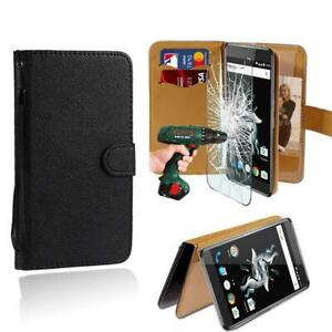 Leather Stand Wallet Case + Tempered Glass Screen Protector For OnePlus 3/3T/X
