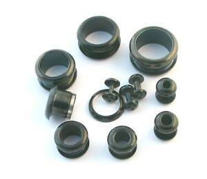 Black Surgical Steel Flesh Tunnel Ear Plug Screw Body Jewellery Lobe 2mm-16mm