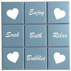 Words & Hearts Bathroom Tile Stickers Decals Wall Vinyl Waterproof Tiles Bath