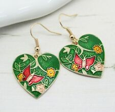 Beautiful Vintage Style Green Enamel Butterfly Heart Drop Earrings Jewellery