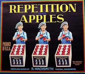 Repetition Yakima Washington Vintage Apple Label Original Fruit Crate Label
