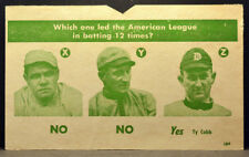 RARE Unknown Vintage 1930s Game Card BABE RUTH HONUS WAGNER TY COBB Oversized NM