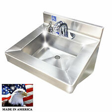 ADA HAND SINK NO LEAD ELECTRONIC FAUCET STAINLESS STEEL WITH PUSH SOAP DISPENSER