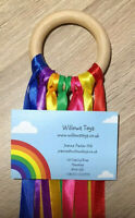 Hand Made Gift Baby Sensory Rainbow Ribbon Natural 7cm Beech Wood Ring Girl Boy