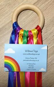 Hand Made Gift Baby Sensory Rainbow Ribbon Natural 7cm Beech Wood Ring Girl Boy