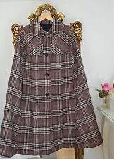 Vintage wool Cape par Raymond de Londres, Noir, Rouge, Blanc Tartan