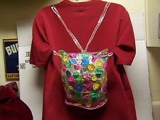 VINTAGE SMILEY FACE CHILDS BACK PACK SNAP TOP W/DRAWSTRING SNAP TOP COMPARTMENT