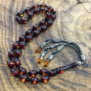 Fire Amber Stone Islamic Prayer 33 beads   Misbaha  Rosary Tasbeeh #model 214