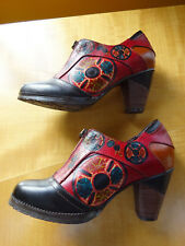Women L'Artiste Spring Step Raina Black/Multi Color Leather Shoes Sz US 5.5-6