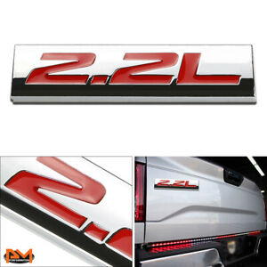 """2.2L"" Polished Metal 3D Decal Red Emblem Exterior Logo Sticker For Toyota/Honda"