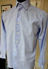 "Duchamp Sapphire Blue White Flowers Button Cuff  Shirt UK 15"" 38 cm Pristine"