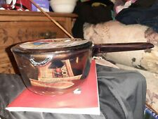 1 Visions Corning Sauce Pan w/Pour Spout 1L Amber Cookware & Lid NonStick New