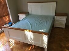 Made In Australia 3 piece queen bedroom suite in white colour/Brown (2 tone)