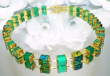 Halskette Würfelkette Würfel Cube smaragd hellgrün grün türkis gold  401h