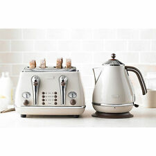 Retro DeLonghi Icona Cream Kettle & 4 Slice Toaster Kitchen Appliance Bundle Set