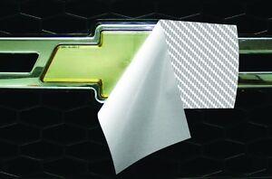 Vinyl Sheet x2 FITS Chevy Bowtie Emblem Logo White Carbon Fiber Decal U-CUT Trim