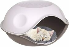 Georplast Duck Covered Plastic Pet Bed, Ken for Cats and Dogs with Pillow - Beig