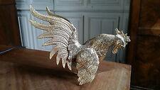 coq de combat metal doré vintage decoration objet de vitrine moderniste