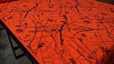 "Blaze Orange Snowfall Camouflage Hunting Cotton Poly Ripstop Apparel Fabric 62""W"