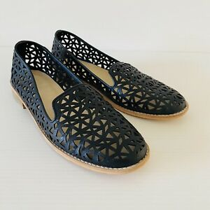 Airflex Black Leather Loafer Size 9 40 Laser Cut Out Slip On Flats Women's