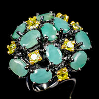 Handmade Natural Emerald 925 Sterling Silver Ring Size 7.75/R124568