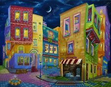 Original oil painting Expressionism surrealism cityscape Night walk Modern art