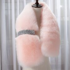 """Women Faux Fur Collar Scarf Fluffy Shawl Wrap Stole Neck Thermal Black Pink 37"""""""