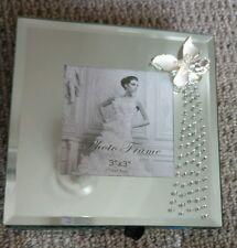 Memory Box mirrored with photo frame jewelry black velvet inlay new