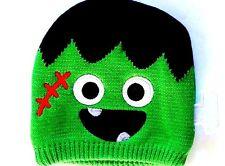 NEW! Halloween Baby Frankenstein Bolt Knit Hat Beanie! Green Monster Embroidered