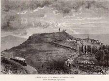 GRAVURE 1877 ENGRAVING 21 MONT AUXOIS ET STATUE DE VERCINGETORIX