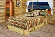 Log Platform Bed with Drawers, Full Double, Amish Made Storage Beds, Cabin Style