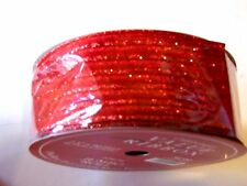 30 Yds Sheer Red Glitter 2 1/2 Inch Ribbon Christmas Crafts Wreath Decoration
