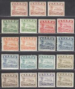 Nauru 1924-48 Freighter Set to 9d with Shades / Paper Mint with some tones