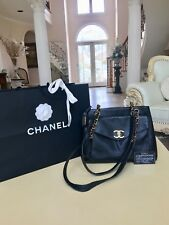 100% Authentic CHANEL Caviar Black Leather Tote Shoulder Bag 24k Gold Hardware