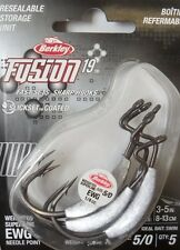 Berkley Fusion 19, 5/0 Extra Wide Gape Weighted Hooks, 1/4 oz, 5 per pack