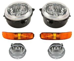 Left & Right Genuine Headlights Headlamps & Turn Fog Lights Kit For Jeep Liberty