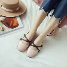 Women's Flat Shoes Cross Strap Casual Round Toe Mary Jane Ballet Pumps Plus Size
