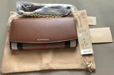 Burberry Wallet House Check / Tan With Chain/Strap NWT!
