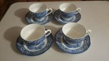 STAFFORDSHIRE LIBERTY BLUE Set of 4  TEA CUPS & SAUCERS OLD NORTH CHURCH