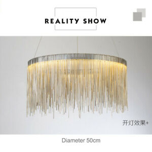 LED Chandelier Metal Tassel Chain Modern Luxury Villa Lamps Simple Round Lamp