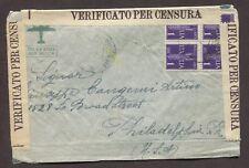 ITALY 1940s WWII CENSORED AIRMAIL COVER MESSINA TO PHILADELPHIA PENNSYLVANIA USA