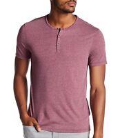 John Varvatos Star USA Men's Short Sleeve 3 Button Henley Shirt Oxblood $98 msrp