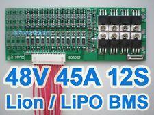 44V 48V 50.4V 12S 45A Lithium ion Li-ion LiPo Li-Polymer Battery BMS PCB System