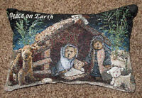 Boyds Bears Christmas Nativity ~ Peace on Earth Tapestry Word Pillow