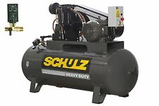 SCHULZ AIR COMPRESSOR 10HP 3 PHASE 120 GALLONS TANK - 40CFM - 175 PSI