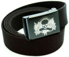 Custom Made Skull with Flag Canvas Web Belt and Buckle