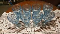 Fostoria Moon stone Light Blue Wine Goblets 8 Each