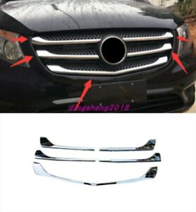 5X ABS Chrome Front middle net decoration strip For Mercedes Benz Vito 2014-2019