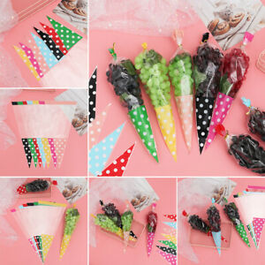 50PCS Cello Cellophane Cone Sweet Candy Party Wedding Favuor Gift Bag Free Ties*